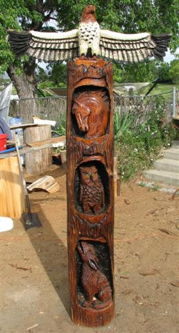 Eagle, Bear, Otter, Fish Totem Pole Carving